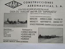 5/1973 PUB CASA SPAIN AVION CASA -212 AVIOCAR HA220 SUPERSAETA ORIGINAL AD