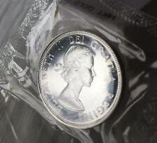 1964 Canadian Silver Dollar Coin No Dot Error In Original Cellophane