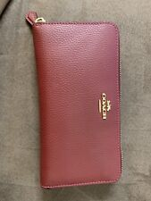 Coach Accordian Zip Wallet Style F16612 Pebble Leather Terracotta was $250