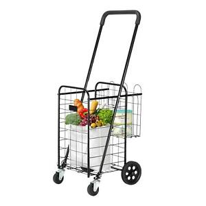 Folding Shopping Cart Utility Trolley Portable Grocery Laundry Travel Black
