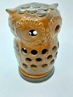 VINTAGE  VIKING OWL 2 PIECE CANDLE HOLDER VOTIVE CANDLE/INCENSE BURNER BROWNISH
