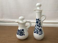 Vintage Avon Milk Glass Bottles Set Of 2 Blue Flower Perfume Oil Mini Pitcher