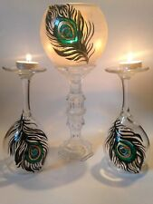 Tall Candles Holders Peacock feather Art  Set Of 3 Tea light clear Glass Vase.