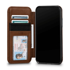 Case SENA Deen Tan WALLET BOOK Genuine Leather for APPLE iPhone XS MAX - Brown