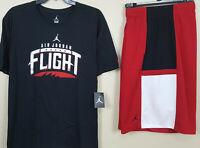 NIKE AIR JORDAN V RETRO 5 OUTFIT SHIRT + SHORTS BLACK RED BRED RARE (SIZE 3XL)