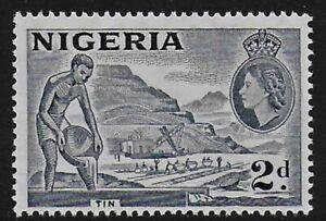 "Nigeria 1956 QEII 2d Slate Blue ""TIN"" Type A - MNH"