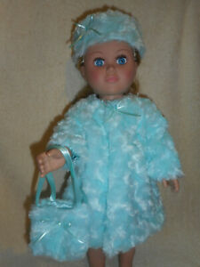 """18"""" doll clothes, fits American Girl & My Life etc, fur coat hat, purse"""