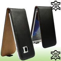 Flip Case Samsung Galaxy S7 Edge Echt Leder schwarz Schutzhülle Etui Handytasche