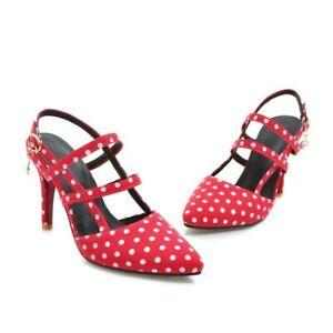 Grace Polka Dot Denim Fabric Womens Buckle Strap Slingbacks Party Formal Shoes