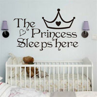 Removable The Princess Sleep Here Vinyl Wall Stickers For Kids Room Wall Deca_hn