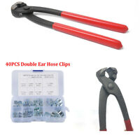 40PCS Double Ear Hose Clips Water Fuel Air Clamps for Zinc Plated w/Clamp Pliers