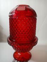 Vintage Ruby Viking Glass Fairy Lamp