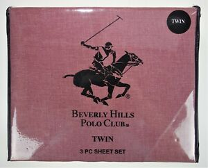 Twin Beverly Hills Polo Club 3 Pc Sheet Set Chambray Red  Cotton Polyester Blend