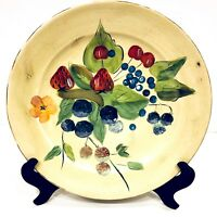 "Cambridge Potteries Wild Berries 14 1/4"" Round Hand Painted Serving Platter"