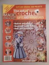 Vtg Magic Crochet The Art of Gifts Miniatures Baskets Bowls Dolls Vase Candy Dis