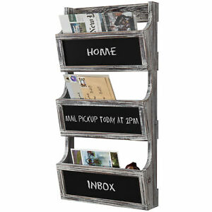 3-Slot Torched Wood Wall Magazine Rack & Mail Sorter with Chalkboard Labels