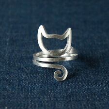 Cute 925 Sterling Silver Double Bands Spiral Cat Head and Tails Adjustable Ring