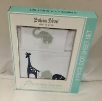 Brand New Bubba Blue Savanna Boy Cot Sheet Set Baby Sleep Bed Time