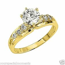 14K Yellow Gold Solitaire Round CZ Cubic Zirconia Wedding Engagement Ring Band 7