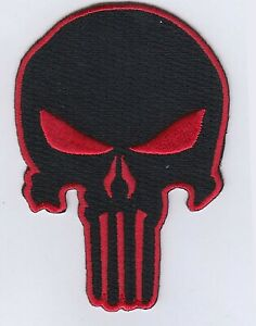 """Punisher Skull (Black/Red) Embroidered Patches 3.5""""x2.3"""" iron-on"""
