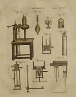 1797 Originale Stampa Pneumatica Varie Apparato Equipment Strumentazione