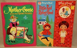 MOTHER GOOSE + RED RIDING HOOD - 2 WHITMAN Paper Doll Books - VINTAGE & UNCUT