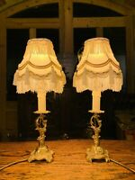 "Pair Of Gilded Rococo Table Lamps, Signed ""Carl J"", Louis XVI French Empire"