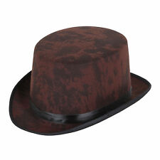 AGED LOOK BROWN TOP HAT FANCY DRESS STEAMPUNK OUTFIT ACCESSORY