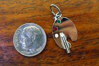 Vintage silver BEAU BEACRAFT PAINT PALETTE ARTIST ART PAINTER ENAMEL charm #2