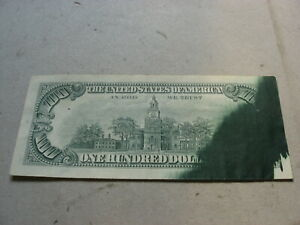 1969-C United States Federal Reserve $100 Star Note With Major Ink Smear Error
