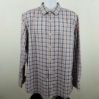 Banana Republic Non Iron Slim Fit Red Blue Check L/S Dress Button Shirt Sz XL