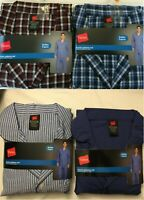 NWT Men's Hanes Woven Pant Shirt Set Pajamas PJ Cotton Blend Check Plaid Various