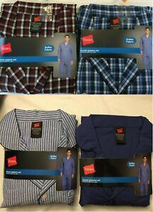 NWT Men's Hanes Woven Pant Shirt Set Pajamas PJ Cotton Blend Check Plaid Various