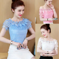 New Sweet Women Off Shoulder Lace Crochet Ruffle Party Office T-Shirt Blouse Top