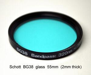 "Schott BG38 55mm x 2mm UV/IR-Cut Filter Visual Bandpass IR Suppress ""Hot Mirror"""