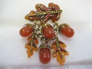"""HEIDI DAUS """"Fall Festival"""" Dangling Acorns & Leaves (Resin) Pin (Orig.$169.95)"""