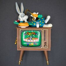 Vtg 96 Looney Tunes Bugs Bunny on Tv Set Christmas Ornament
