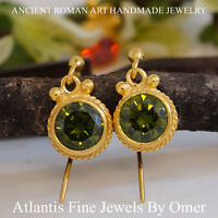 925 Sterling Silver Peridot Hook Earrings 24k Gold Vermeil Handmade Jewelry Omer
