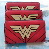Wonder Woman Wallet Bi-Fold Red Leather Short Purse Girl Coin Hand Bag