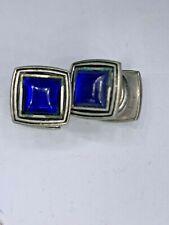 B&W Co.  Antique KUM-A-Part Art Deco Blue Glass Cuff Links