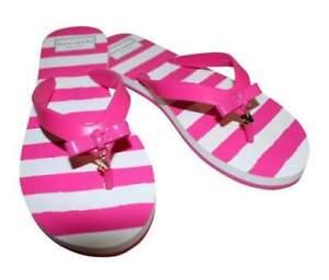 KATE SPADE Fifi Dangling Gold Spade Flip Flops Stripe Pink / White