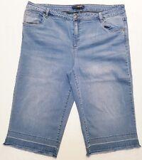 DENIM 24/7 women's jeans/capris size 24W cropped frayed-hems medium wash denim