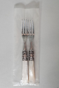 """Set of 2 Pearl Handled Forks Marked """"STERLING"""" and Unsigned. Beautiful."""
