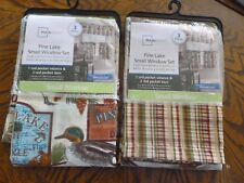 """Mainstays """"Pine Lake"""" 3 Pc. Small Window Set Tiers and Valance. Includes 2 pkgs!"""
