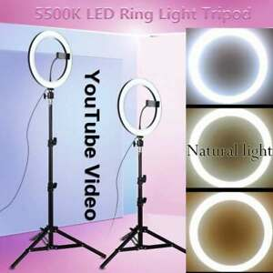 8''/10'' Dimmable LED Ring Light Video Photo Lighting Light+1.2 m Tripod Stand