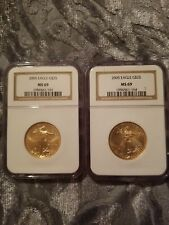 Two 1/2 Gold 2005 American Eagle G$25 Dollar Gold Coin NGC MS 69
