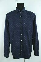 GIORDANO Navy Blue Polka Dots Button-Up Collared Long Sleeve Shirt Size XL