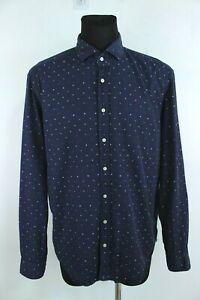 GIORDANO Navy Blue Polka Dots Button-Up Collared Long Sleeve Shirt Size XL