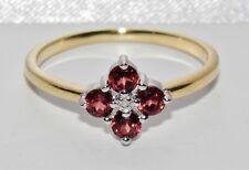 Beautiful 9kt Giallo Oro & Argento Granato & Anello Con Diamante A Grappolo