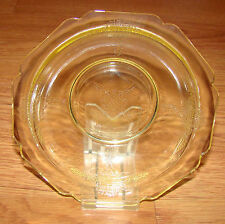 Antique Topaz Rozanna Yellow, Hazel Atlas Depression Glass Dessert, Fruit Bowl